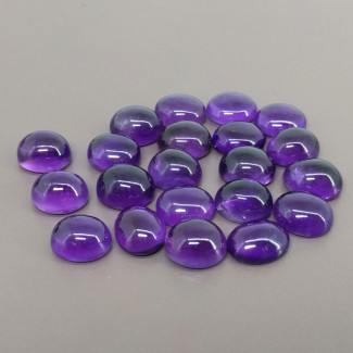88.25 Cts. African Amethyst 11x9mm Smooth Oval Shape Cabochon Parcel (21 Pcs.)