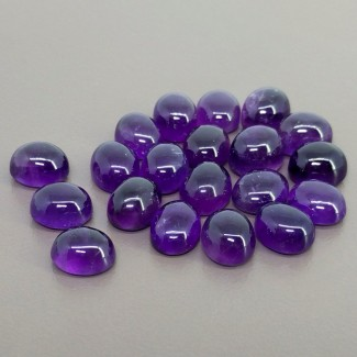 72.05 Cts. African Amethyst 10x8mm Smooth Oval Shape Cabochon Parcel (20 Pcs.)