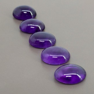 65.75 Cts. African Amethyst 18x13mm Smooth Oval Shape Cabochon Parcel (5 Pcs.)