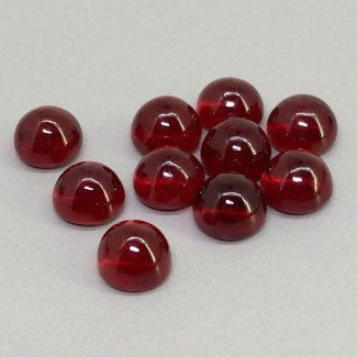 17.75 Cts. Ruby 6mm Smooth Round Shape Cabochon Parcel (10 Pcs.)