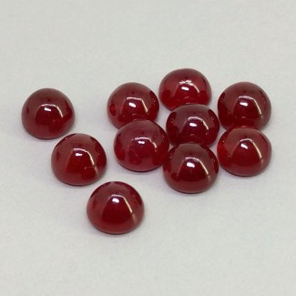 18 Cts. Ruby 6mm Smooth Round Shape Cabochon Parcel (10 Pcs.)