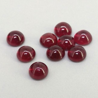 14.70 Cts. Ruby 6mm Smooth Round Shape Cabochon Parcel (10 Pcs.)