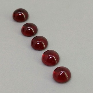 7.40 Cts. Ruby 6mm Smooth Round Shape Cabochon Parcel (5 Pcs.)