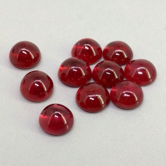 13.45 Cts. Ruby 6mm Smooth Round Shape Cabochon Parcel (10 Pcs.)