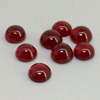 17.55 Cts. Ruby 7-7.5mm Smooth Round Shape Cabochon Parcel (8 Pcs.)