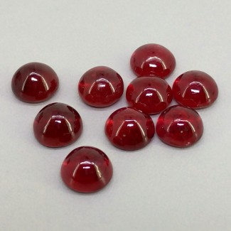 16.85 Cts. Ruby 6.5mm Smooth Round Shape Cabochon Parcel (9 Pcs.)