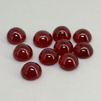 22.55 Cts. Ruby 7mm Smooth Round Shape Cabochon Parcel (10 Pcs.)