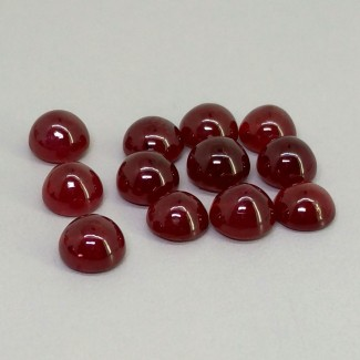 28.30 Cts. Ruby 7mm Smooth Round Shape Cabochon Parcel (12 Pcs.)
