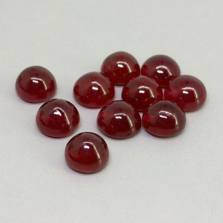 24.30 Cts. Ruby 7mm Smooth Round Shape Cabochon Parcel (10 Pcs.)