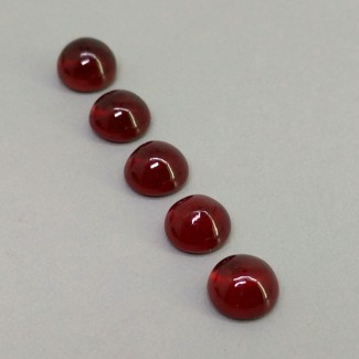 10.90 Cts. Ruby 7mm Smooth Round Shape Cabochon Parcel (5 Pcs.)