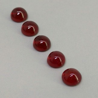 9.50 Cts. Ruby 6.5mm Smooth Round Shape Cabochon Parcel (5 Pcs.)
