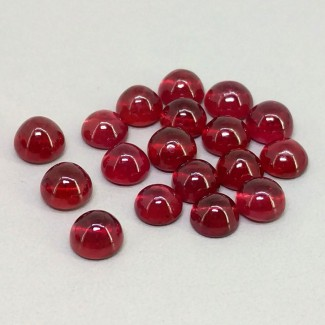 16.95 Cts. Ruby 5mm Smooth Round Shape Cabochon Parcel (18 Pcs.)