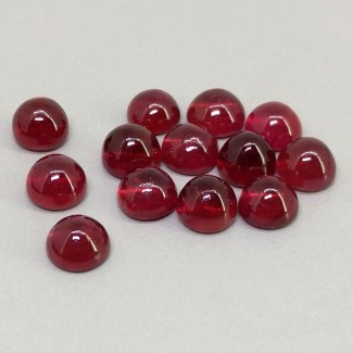 12.45 Cts. Ruby 5mm Smooth Round Shape Cabochon Parcel (13 Pcs.)