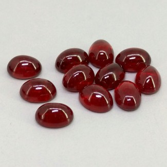 25.60 Cts. Ruby 8x6mm Smooth Oval Shape Cabochon Parcel (11 Pcs.)