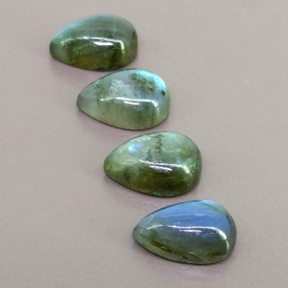 29.45 Cts. Labradorite 15x10mm Smooth Pear Shape Cabochon Parcel (4 Pcs.)