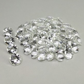166.85 Cts. Crystal Quartz 10mm Checkerboard Round Shape Gemstone Parcel (50 Pcs.)