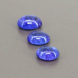 12.20 Cts. Tanzanite 10x8-12x9mm Smooth Oval Shape Cabochon Parcel (3 Pcs.)