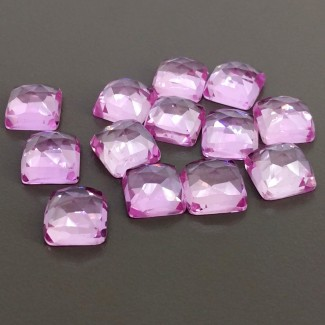 92.50 Cts. Lab Pink Sapphire 10mm Rose Cut Square Cushion Shape Cabochon Parcel (13 Pcs.)