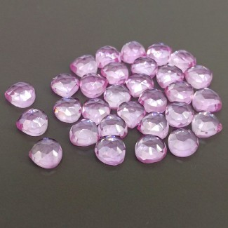 86.25 Cts. Lab Pink Sapphire 8mm Rose Cut Heart Shape Cabochon Parcel (30 Pcs.)