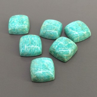 96.20 Cts. Amazonite 15mm Smooth Square Cushion Shape Cabochon Parcel (6 Pcs.)