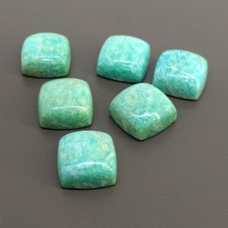 98.70 Cts. Amazonite 15mm Smooth Square Cushion Shape Cabochon Parcel (6 Pcs.)