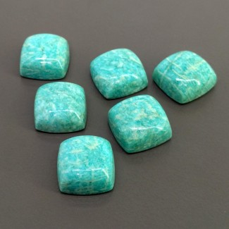 98.80 Cts. Amazonite 15mm Smooth Square Cushion Shape Cabochon Parcel (6 Pcs.)