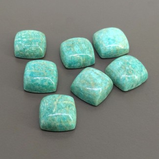 112.10 Cts. Amazonite 15mm Smooth Square Cushion Shape Cabochon Parcel (7 Pcs.)