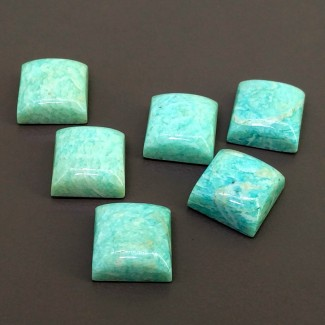 111.15 Cts. Amazonite 15mm Smooth Square Shape Cabochon Parcel (6 Pcs.)