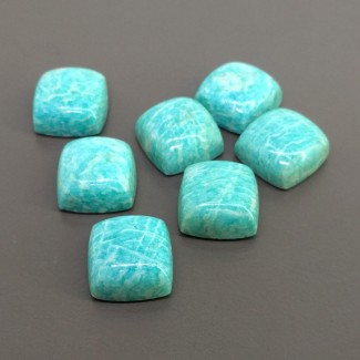 115.45 Cts. Amazonite 15mm Smooth Square Cushion Shape Cabochon Parcel (7 Pcs.)