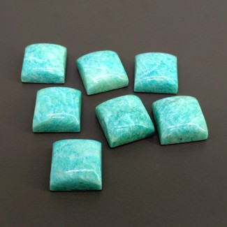 129.85 Cts. Amazonite 15mm Smooth Square Shape Cabochon Parcel (7 Pcs.)