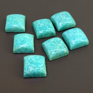 132.60 Cts. Amazonite 15mm Smooth Square Shape Cabochon Parcel (7 Pcs.)