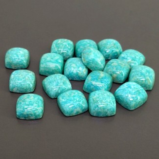 148.10 Cts. Amazonite 12mm Smooth Square Cushion Shape Cabochon Parcel (17 Pcs.)