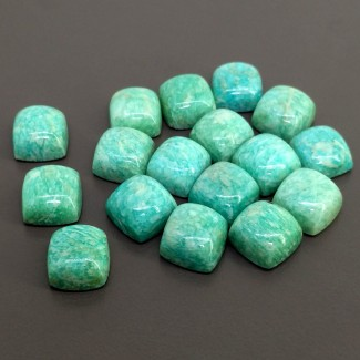 155.45 Cts. Amazonite 12mm Smooth Square Cushion Shape Cabochon Parcel (17 Pcs.)