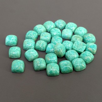 160.85 Cts. Amazonite 10mm Smooth Square Cushion Shape Cabochon Parcel (30 Pcs.)