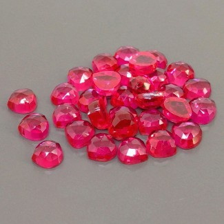 96.20 Cts. Lab Ruby 8mm Rose Cut Heart Shape Cabochon Parcel (32 Pcs.)