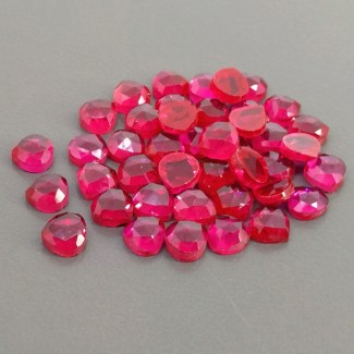 53.90 Cts. Lab Ruby 6mm Rose Cut Heart Shape Cabochon Parcel (42 Pcs.)