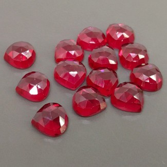108.90 Cts. Lab Ruby 12mm Rose Cut Heart Shape Cabochon Parcel (13 Pcs.)