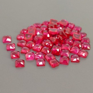 95.30 Cts. Lab Ruby 6mm Rose Cut Cushion Shape Cabochon Parcel (61 Pcs.)