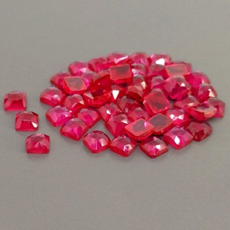 82.05 Cts. Lab Ruby 6mm Rose Cut Cushion Shape Cabochon Parcel (50 Pcs.)