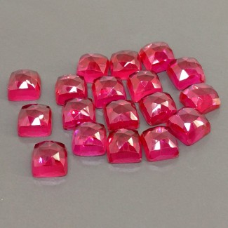86.85 Cts. Lab Ruby 8mm Rose Cut Square Cushion Shape Cabochon Parcel (18 Pcs.)