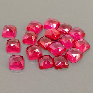 74.30 Cts. Lab Ruby 8mm Rose Cut Square Cushion Shape Cabochon Parcel (17 Pcs.)