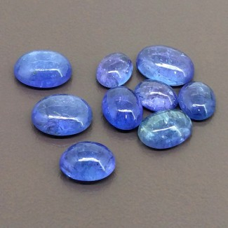 26.70 Cts. Tanzanite 8.5x6.5-11.5x8.5mm Smooth Oval Shape Cabochon Parcel (9 Pcs.)