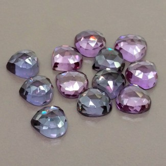 61.55 Cts. Lab Alexandrite 10mm Rose Cut Heart Shape Cabochon Parcel (12 Pcs.)