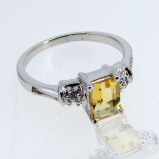 Citrine and Diamond White CZ 925 Sterling Silver Ring