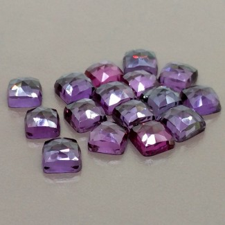 64.55 Cts. Lab Alexandrite 8mm Rose Cut Square Cushion Shape Cabochon Parcel (16 Pcs.)