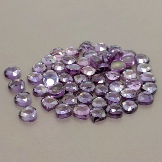 68.45 Cts. Lab Alexandrite 6mm Rose Cut Heart Shape Cabochon Parcel (56 Pcs.)