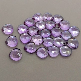 71.75 Cts. Lab Alexandrite 8mm Rose Cut Heart Shape Cabochon Parcel (25 Pcs.)