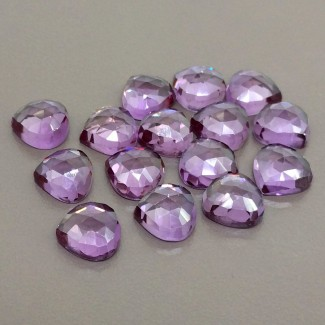 77.30 Cts. Lab Alexandrite 10mm Rose Cut Heart Shape Cabochon Parcel (15 Pcs.)