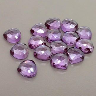 78.25 Cts. Lab Alexandrite 10mm Rose Cut Heart Shape Cabochon Parcel (15 Pcs.)