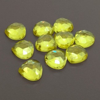 82.55 Cts. Lab Yellow Sapphire 12mm Rose Cut Heart Shape Cabochon Parcel (10 Pcs.)